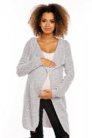 Dlouhý perličkový kabátkový svetřík PENY melírkový - šedý