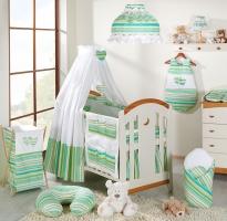 Krásný volánek pod matraci - Proužek zelený