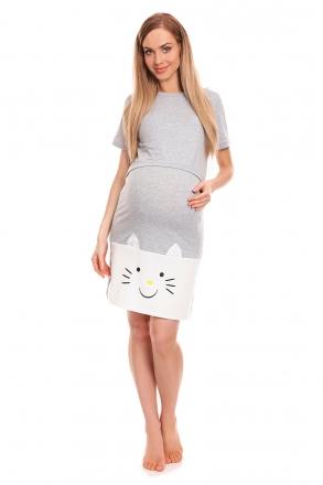 Be MaaMaa Těhotenská, kojící noční košile s motivem kočky, kr. rukáv - šedá, vel. L/XL