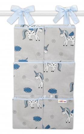 Bavlněný kapsář na postýlku Baby Nellys 6 kapes, Jednorožec - šedý/modrý Baby Nellys