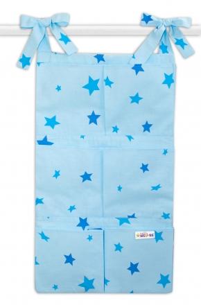 Bavlněný kapsář na postýlku Baby Nellys 6 kapes, Hvězdičky - modré Baby Nellys