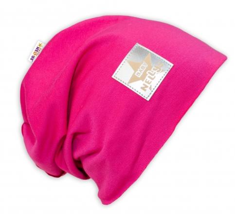 Bavlněná čepička Baby Nellys ® - sytě růžová, vel. 52 - 54 cm