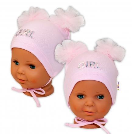 Bavlněná čepička na zavazování Baby Nellys s mašličkami Tutu - sv. růžová