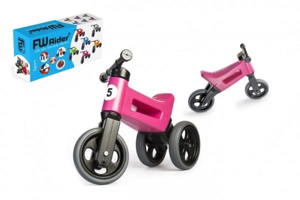 Odrážedlo FUNNY WHEELS Rider Sport růžové 2v1, výška sedla 28/30cm nosnost 25kg 18m+
