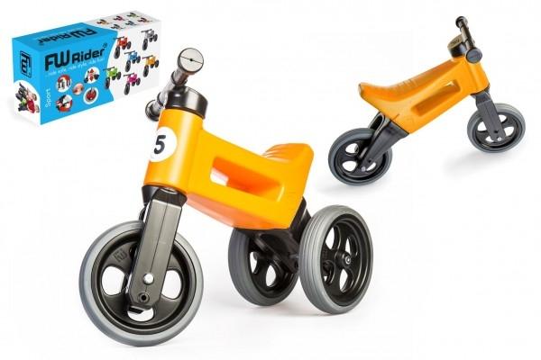 Odrážedlo FUNNY WHEELS Rider Sport oranžové 2v1, výška sedla 28/30cm nosnost 25kg 18m