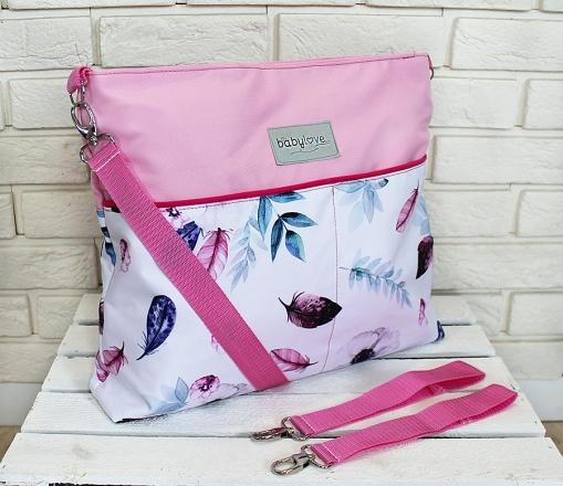 Stylová taška na kočárek Baby Nellys Hand Made - Listy - růžová, Ce19