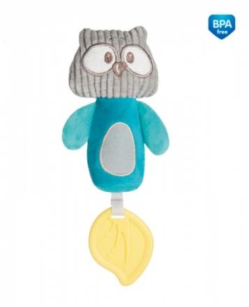 Plyšová pískací hračka s pískátkem a kousátkem - Sova tyrkysová