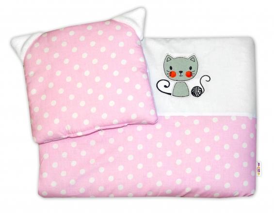 Dětská sada do kočárku Baby Nellys ® Cat - bubble růžová