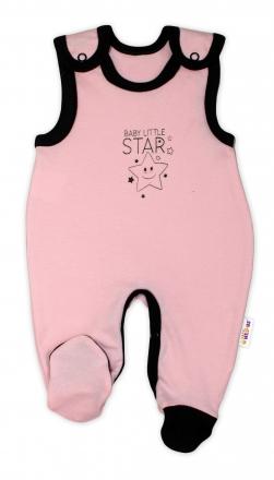 Kojenecké bavlněné dupačky Baby Nellys, Baby Little Star - růžové, vel. 56 Baby Nellys