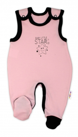Kojenecké bavlněné dupačky Baby Nellys, Baby Little Star - růžové, vel. 74 Baby Nellys