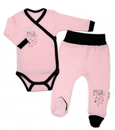 Baby Nellys 2-dílná sada body dl. rukáv + polodupačky, růžová - Baby Little Star, vel. 56