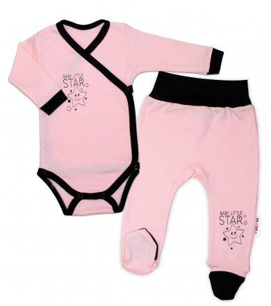 Baby Nellys 2-dílná sada body dl. rukáv + polodupačky, růžová - Baby Little Star, vel. 62
