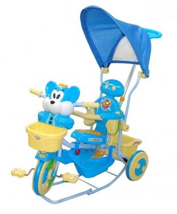 Euro Baby Dětská tříkolka s vodící tyčí Myška - modrá
