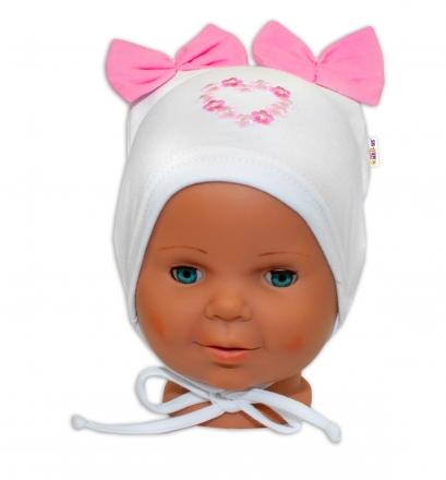 Bavlněná čepička na zavazování Baby Nellys s mašličkami - bílá