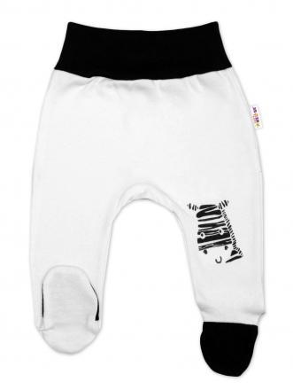 Baby Nellys Kojenecké polodupačky, bílé - Zebra, vel. 56