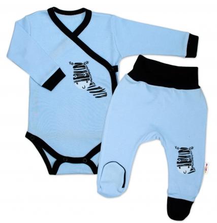 Baby Nellys 2-dílná sada body dl. rukáv + polodupačky, modrá - Zebra, vel. 56