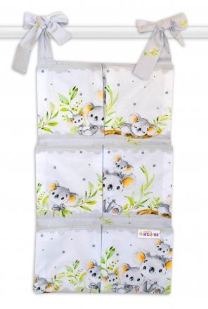 Bavlněný kapsář na postýlku Baby Nellys 6 kapes, Medvídek Koala - šedý Baby Nellys