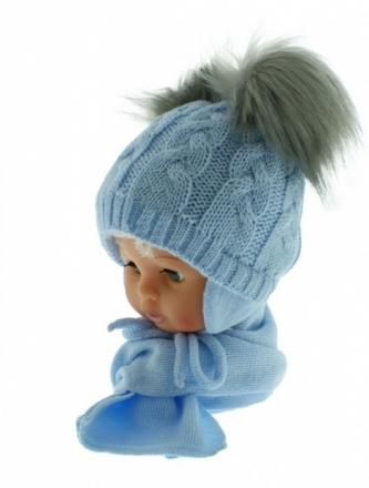 BABY NELLYS Zimní čepička s šálou - chlupáčkové bambulky - sv. modrá/šedé