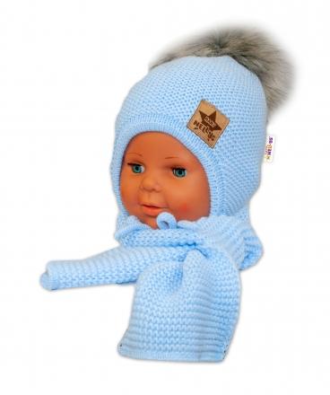 BABY NELLYS Zimní čepička s šálou - chlupáčková bambulka - sv. modrá/šedá