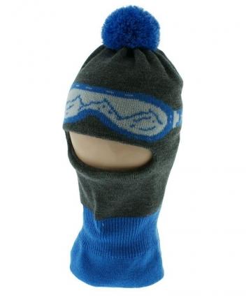 BABY NELLYS Zimní čepička/kukla s bambuli - modrá s brýlemi