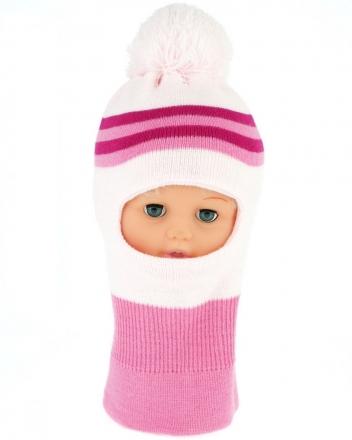 BABY NELLYS Zimní čepička/kukla s bambuli - sv. růžová s proužky