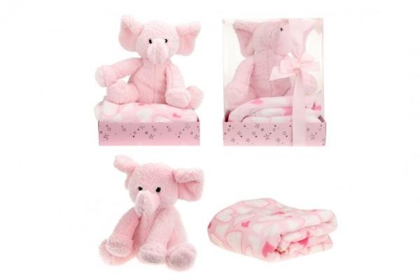 Sada slon plyš + deka růžový v blistru 20x26x18cm
