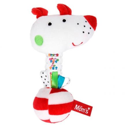 Hencz Toys Edukační chrastítko pejsek Momsík - bílo/červený