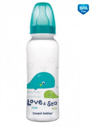 Canpol babies Lahvička s potiskem 250 ml Love&Sea - tyrkysová Canpol Babies