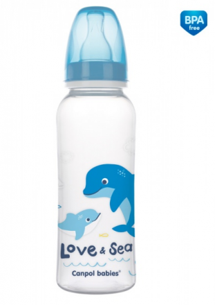 Canpol babies Lahvička s potiskem 250 ml Love&Sea - modrá Canpol Babies