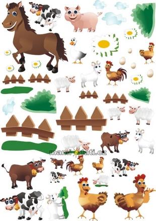 NELLYS Nálepky, dekorace na stěnu 70x100 cm - Farma