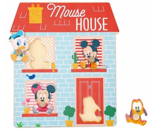Dřevěné Disney puzzle,domeček pro nejmenší Mickey a přátelé, 24 x 30 cm