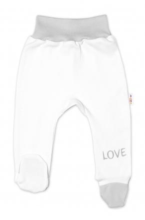 Baby Nellys Kojenecké polodupačky, bílé - Love, vel. 62