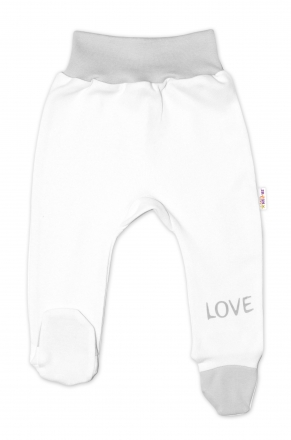 Baby Nellys Kojenecké polodupačky, bílé - Love, vel. 74