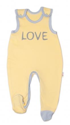Kojenecké bavlněné dupačky Baby Nellys, Love - žluté, vel. 56 Baby Nellys