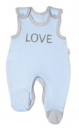 Kojenecké bavlněné dupačky Baby Nellys, Love - modré, vel. 74 Baby Nellys