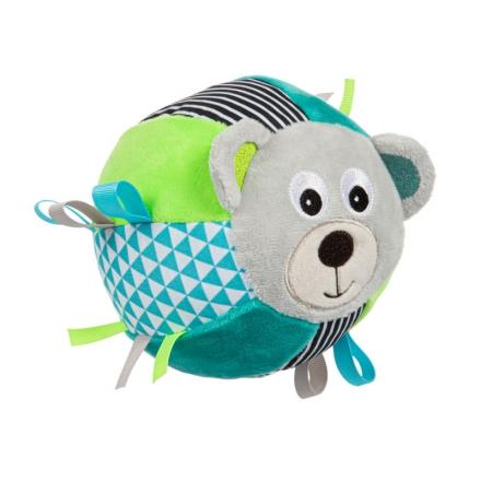 Canpol babies Plyšový edukační míček s rolničkou Medvídek - tyrkysová