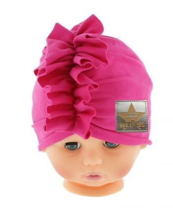 Baby Nellys Jarní/podzimní bavlněná čepice - turban, tm. růžová, obvod: 44-48 cm