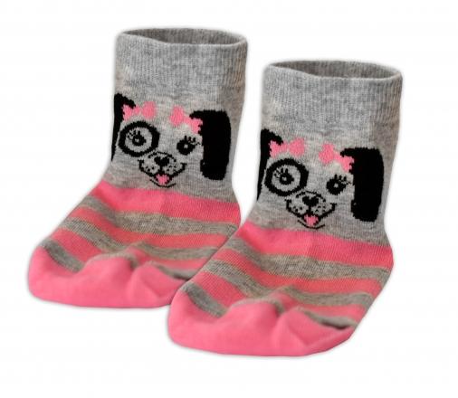 Baby Nellys Bavlněné ponožky Pejsek mašlička - šedé/růžový proužek