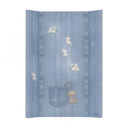 Přebalovací podložka Ceba, tvrdá - na postýlku 120x60 cm, Denim Shabby - jeans, 50x70cm