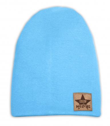 Baby Nellys Dětská bavlněná čepice - dvouvrstvá, sv. modrá, 44-48 cm