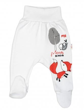 Baby Nellys Bavlněné kojenecké polodupačky, Fox - bílé, vel. 80