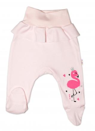 Baby Nellys Bavlněné kojenecké polodupačky, Flamingo s volánkem - růžové, vel. 86