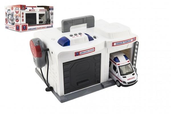 Garáž + auto ambulance 15 cm plast na baterie se světlem se zvukem v krabici 37x20x2