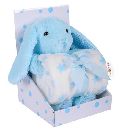 Baby Nellys Dětská sada deka + plyšová hračka Králíček - modrá