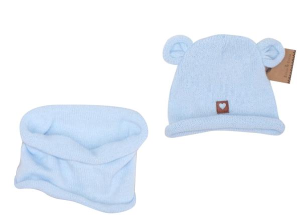 Z&Z Pletená čepice s oušky + komínek, světle modrá, vel. 6 - 12 měsíců