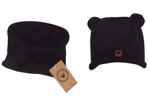 Z&Z Pletená čepice s oušky + komínek, černá, vel. 6 - 12 měsíců