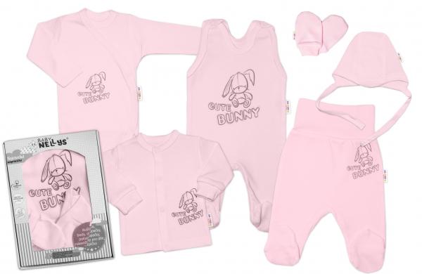 Baby Nellys Velká sada do porodnice CUTE BUNNY, 6-ti dílná v krabičce - růžová, vel. 56