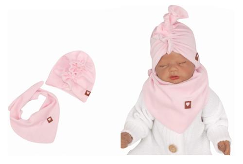 Z&Z Stylová dětská jarní/podzimní velurová čepice, turban s šátkem, sv. růžová, 44/48cm