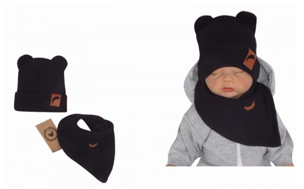 Z&Z Dvouvrstvá žebrovaná čepička s oušky + šátek, černá