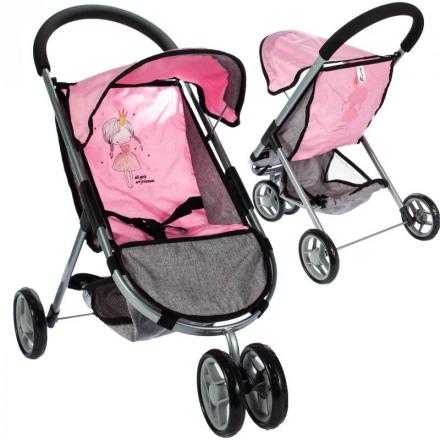 Tulimi Sportovní kočárek pro panenky Princezna - růžová/ šedá